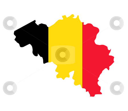 Belgium map flag stock photo, Illustration of Belgium flag on map of country; isolated on white background. by Martin Crowdy