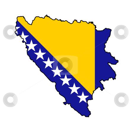 Bosnia and Herzegovina stock photo, Illustration of Bosnia and Herzegovina flag on map of country; isolated on white background. by Martin Crowdy
