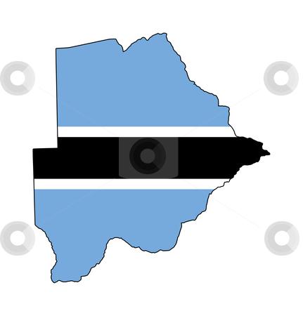 Botswana flag on map stock photo, Illustration of Botswana flag on map of country; isolated on white background. by Martin Crowdy