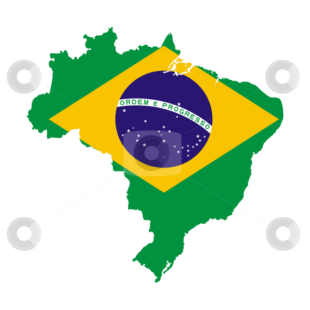 Brazil flag on map stock photo, Illustration of Brazil flag on map of country; isolated on white background. by Martin Crowdy