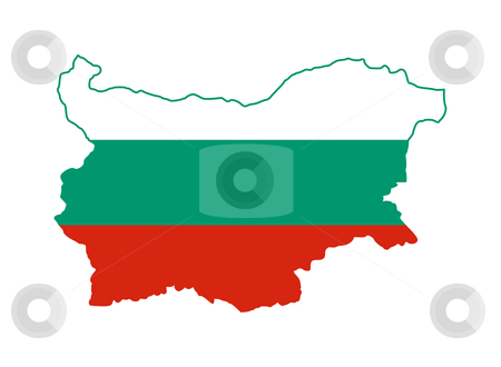 Bulgaria flag map stock photo, Illustration of Bulgaria flag on map of country; isolated on white background. by Martin Crowdy