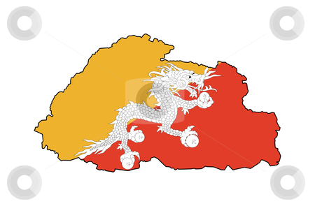 Bhutan map flag stock photo, Illustration of Bhutan flag on map of country; isolated on white background. by Martin Crowdy