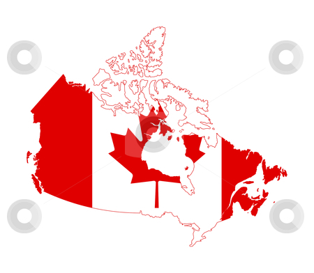 Canada flag on map stock photo, Illustration of Canada flag on map of country; isolated on white background. by Martin Crowdy