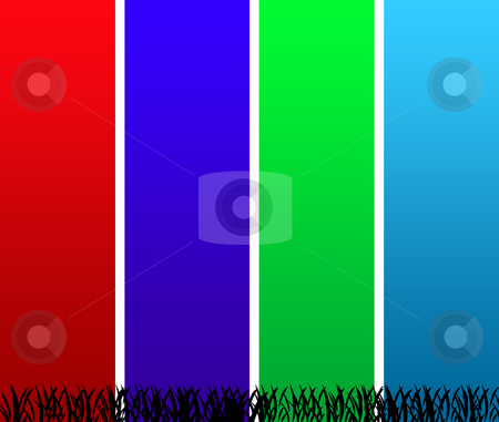 Colorful stiped background stock photo, An abstract background of colorful vertical stipes with grass. by Martin Crowdy