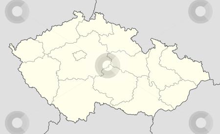 Czech Republic map stock photo, Illustration of country of Czech Republic map showing borders. by Martin Crowdy
