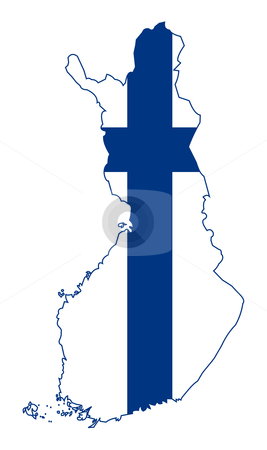 Finland flag on map stock photo, Illustration of Finland flag on map of country; isolated on white background. by Martin Crowdy