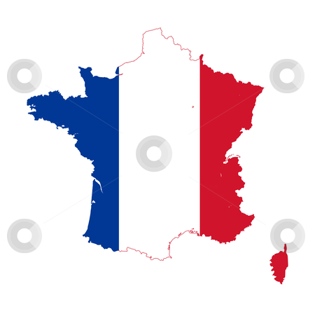 France flag on map stock photo, Illustration of France flag on map of country; isolated on white background. by Martin Crowdy