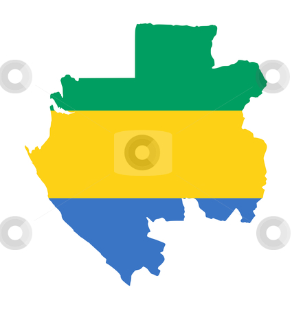 Gabon flag on map stock photo, Illustration of the Gabon flag on map of country; isolated on white background. by Martin Crowdy