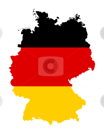 German flag on map stock photo, Illustration of Germany flag on map of country; isolated on white background. by Martin Crowdy