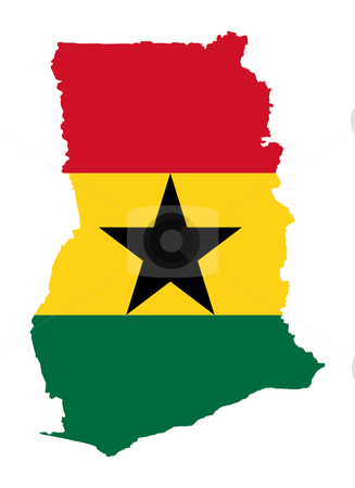 Ghana flag on map stock photo, Illustration of the Ghana flag on map of country; isolated on white background. by Martin Crowdy