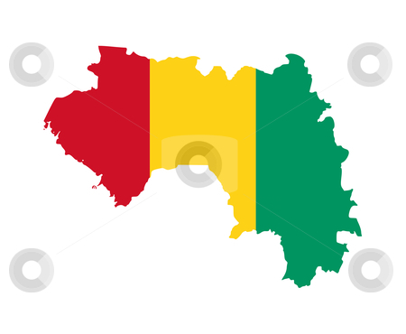 Guinea flag on map stock photo, Illustration of the Guinea flag on map of country; isolated on white background. by Martin Crowdy