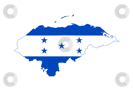 Honduras flag on map stock photo, Illustration of the Honduras flag on map of country; isolated on white background. by Martin Crowdy
