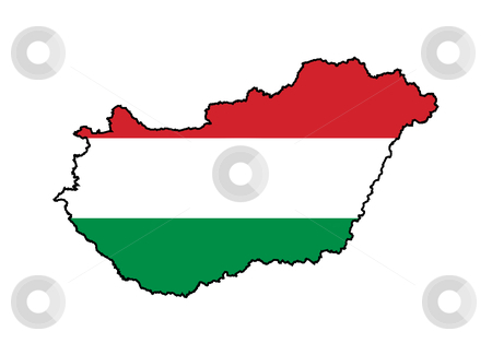 Hungary flag on map stock photo, Illustration of the Hungary flag on map of country; isolated on white background. by Martin Crowdy