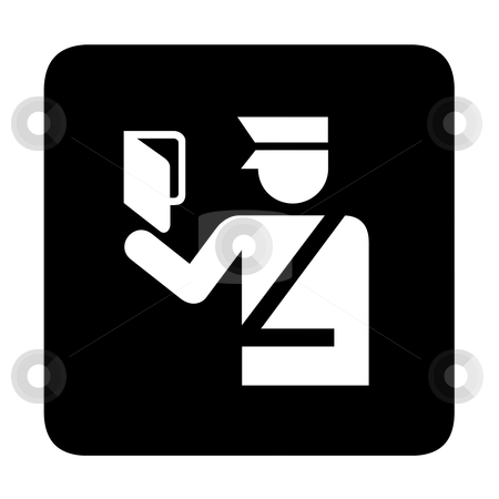 Immigration sign stock photo, Immigration official with passport, sign or symbol; isolated on white background. by Martin Crowdy