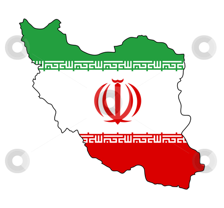 Iran flag on map stock photo, Illustration of the Iran flag on map of country; isolated on white background. by Martin Crowdy