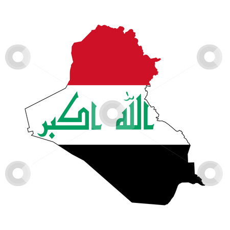 Iraq flag on map stock photo, Illustration of the Iraq flag on map of country; isolated on white background. by Martin Crowdy