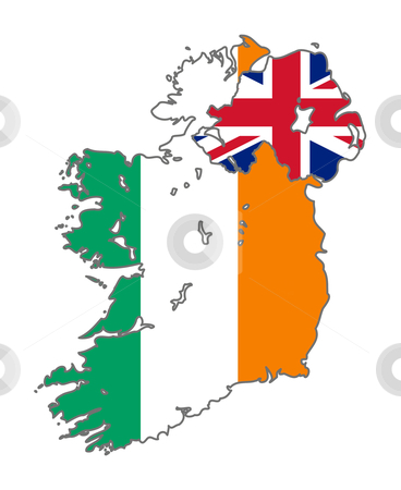 Ireland flag on map stock photo, Illustration of the Ireland and Union Jack flag on map of country; isolated on white background. by Martin Crowdy