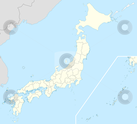 Japan map stock photo, Illustration of country of Japan map showing borders. by Martin Crowdy