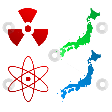 Japan map and radioactive signs stock photo, Two Japanese maps, radioactive and nuclear signs; isolated on white background. by Martin Crowdy