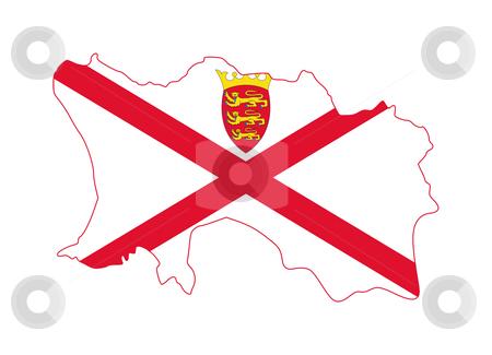 Jersey flag on map stock photo, Illustration of the Jersey flag on map of country; isolated on white background. by Martin Crowdy
