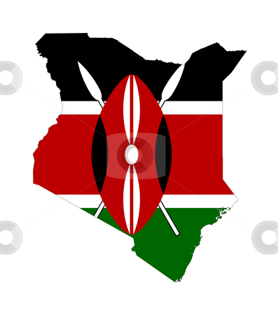 Kenya flag on map stock photo, Illustration of the Kenya flag on map of country; isolated on white background. by Martin Crowdy