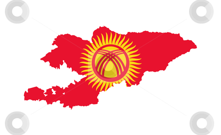 Kyrgyzstan flag on map stock photo, Illustration of the Kyrgzstan flag on map of country; isolated on white background. by Martin Crowdy