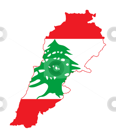 Lebanon flag on map stock photo, Illustration of the Lebanon flag on map of country; isolated on white background. by Martin Crowdy