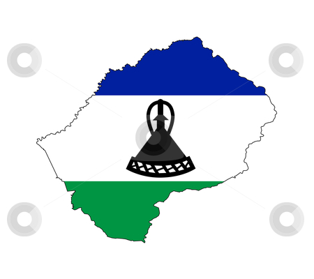 Lesotho flag on map stock photo, Illustration of the Lesotho flag on map of country; isolated on white background. by Martin Crowdy