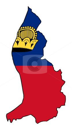 Liechtenstein flag on map stock photo, Illustration of the Liechtenstein flag on map of country; isolated on white background. by Martin Crowdy