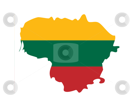 Lithuania map stock photo, Illustration of the Lithuania flag on map of country; isolated on white background. by Martin Crowdy