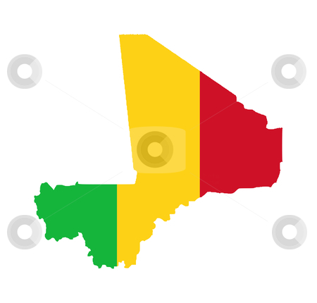 Mali flag on map stock photo, Illustration of the Mali flag on map of country; isolated on white background. by Martin Crowdy