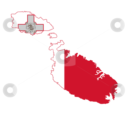 Malta flag on map stock photo, Illustration of Maltese flag on map of country; isolated on white background.  by Martin Crowdy