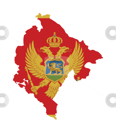 Montenegro flag on map stock photo, Illustration of the Montenegro flag on map of country; isolated on white background. by Martin Crowdy