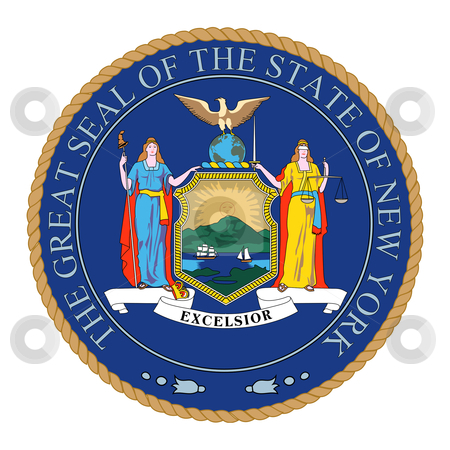 Great Seal of New York stock photo, Illustration of the Great Seal of the State of New York, America. by Martin Crowdy