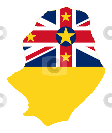 Niue Island flag on map stock photo, Illustration of the Niue Island flag on map of country; isolated on white background. by Martin Crowdy