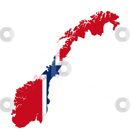 Norway flag on country map stock photo, Illustration of Norway flag on map of country; isolated on white background. by Martin Crowdy