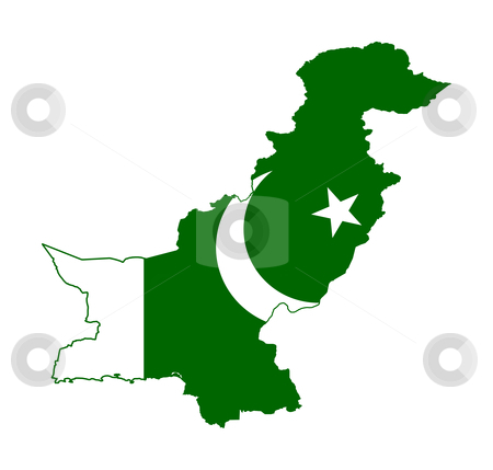 Pakistan flag on map stock photo, Illustration of the Pakistan flag on map of country; isolated on white background. by Martin Crowdy