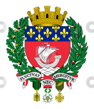 Paris coat of arms stock photo, Illustration of Paris city coat of arms in France. by Martin Crowdy