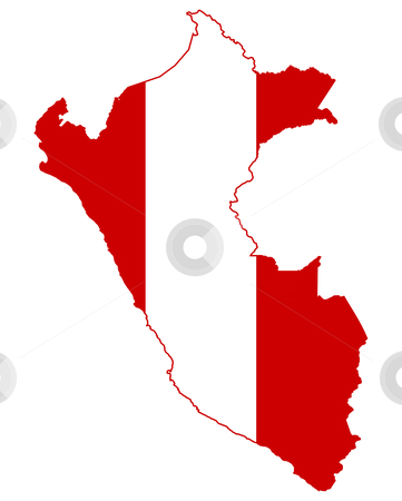Peru flag on map stock photo, Illustration of the Peru flag on map of country; isolated on white background. by Martin Crowdy