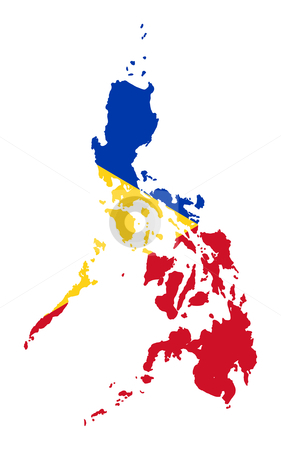 Philippines flag on map stock photo, Illustration of the Philippines flag on map of country; isolated on white background. by Martin Crowdy