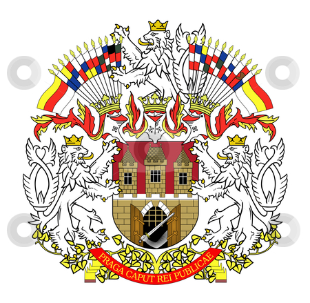 Prague coat of arms stock photo, Illustration of Prague coat of arms; isolated on white background. by Martin Crowdy