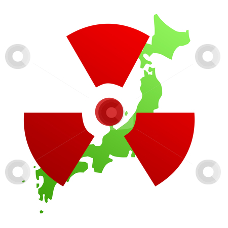 Radioactive sign on Japan map stock photo, Illustration of radioactive sign on map of Japan; isolated on white background. by Martin Crowdy