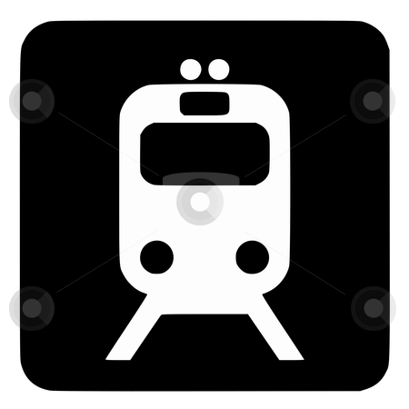 Railway sign button stock photo, Railway sign or symbol; isolated on white background. by Martin Crowdy