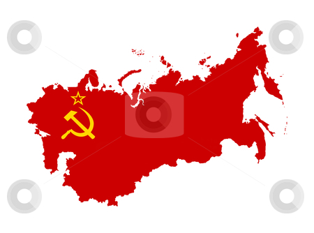 Russia flag on map stock photo, Illustration of Russia or Soviet flag on map of country; isolated on white background. by Martin Crowdy