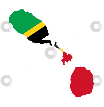 Saint Kitts and Nevis stock photo, Illustration of the Saint Kitts and Nevis flags on map of country; isolated on white background. by Martin Crowdy