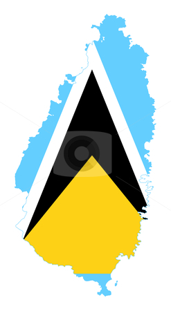 Saint Lucia map stock photo, Illustration of the Saint Lucia flag on map of country; isolated on white background. by Martin Crowdy