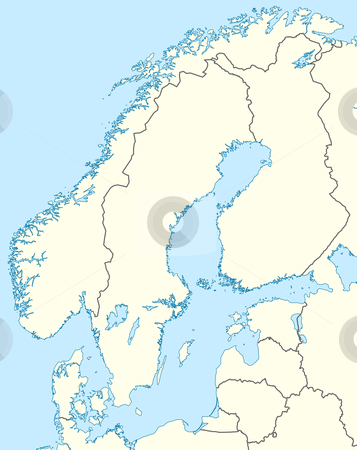 Scandinavia map stock photo, Illustration of countries of Scandinavia map showing state borders. by Martin Crowdy