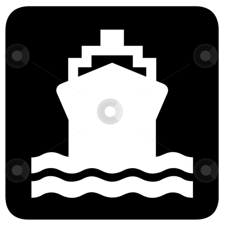Ship or boat sign stock photo, Ship or boat sign or symbol; isolated on white background.= by Martin Crowdy