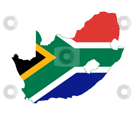 South Africa flag on country map stock photo, Illustration of South Africa flag on map of country; isolated on white background. by Martin Crowdy