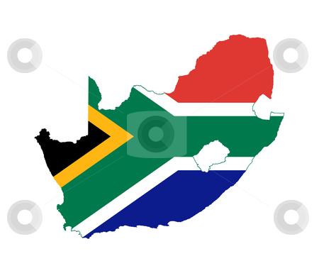South African map flag stock photo, Illustration of the South Africa flag on map of country; isolated on white background. by Martin Crowdy